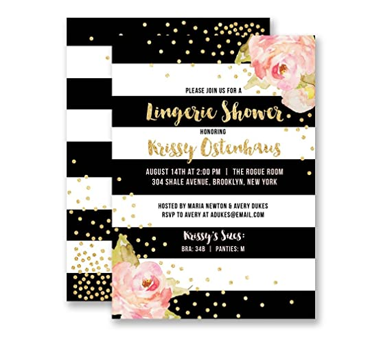 Amazoncom Lingerie Party Invitations Black White Stripe Personal