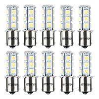 HOTSYSTEM 12V 1156 7506 1003 1141 LED SMD 18 LED Bulbs Interior RV Camper White 10-pack
