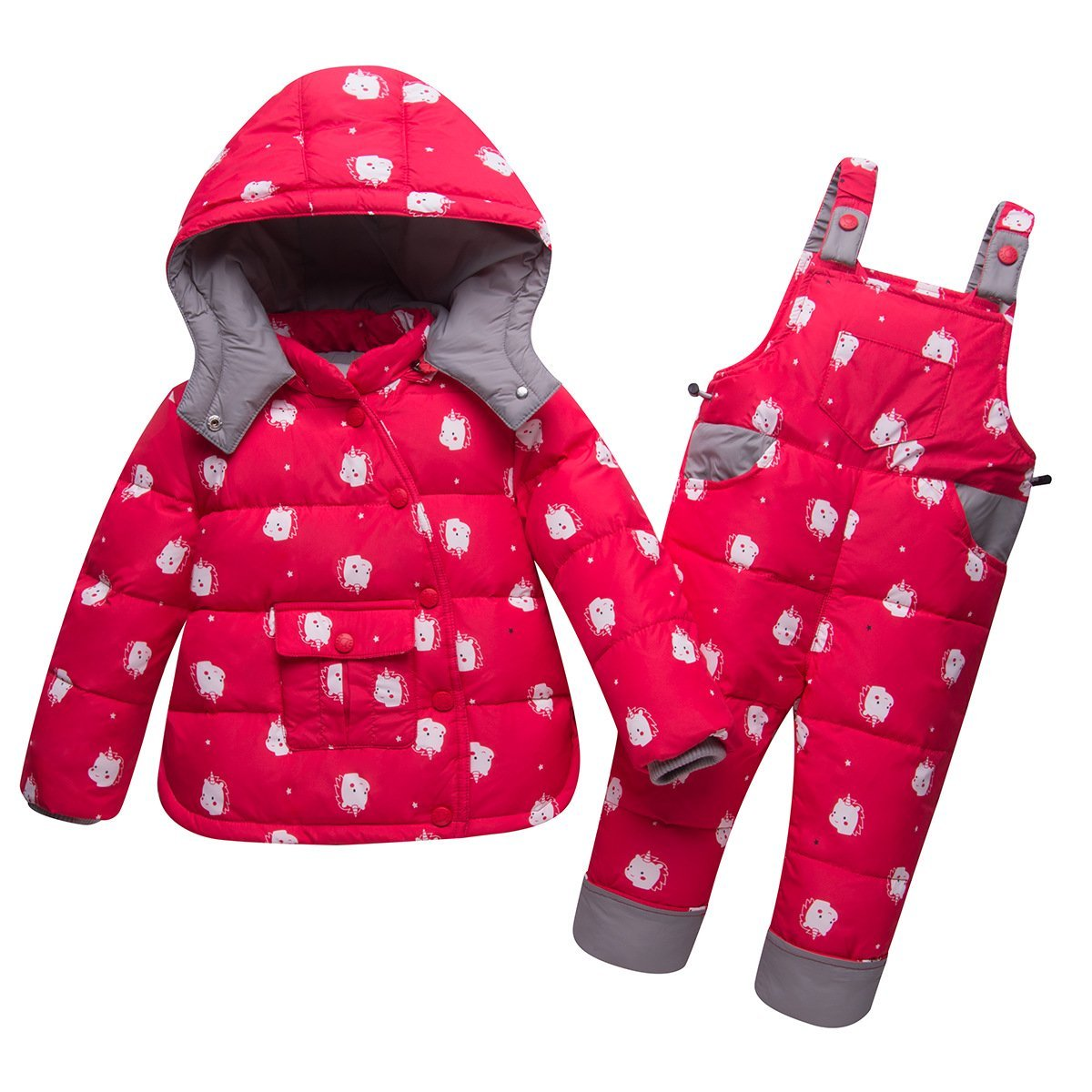 CADong Unisex Baby Toddler Winter Snowsuit, Two Piece Puffer Down Snowsuit Hooded Jacket with Snow Ski Bib Pants