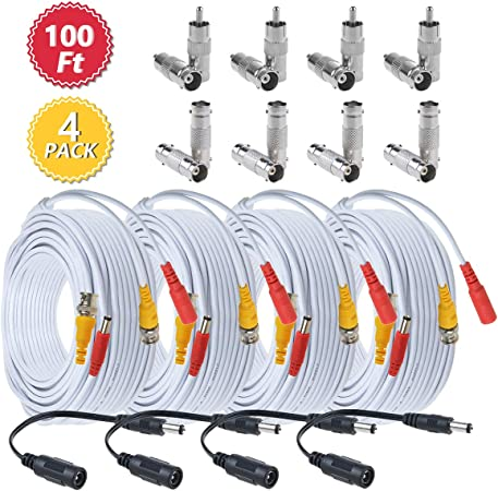 100B Video and Power 100-Foot BNC Male Cable with 2 Female Connectors