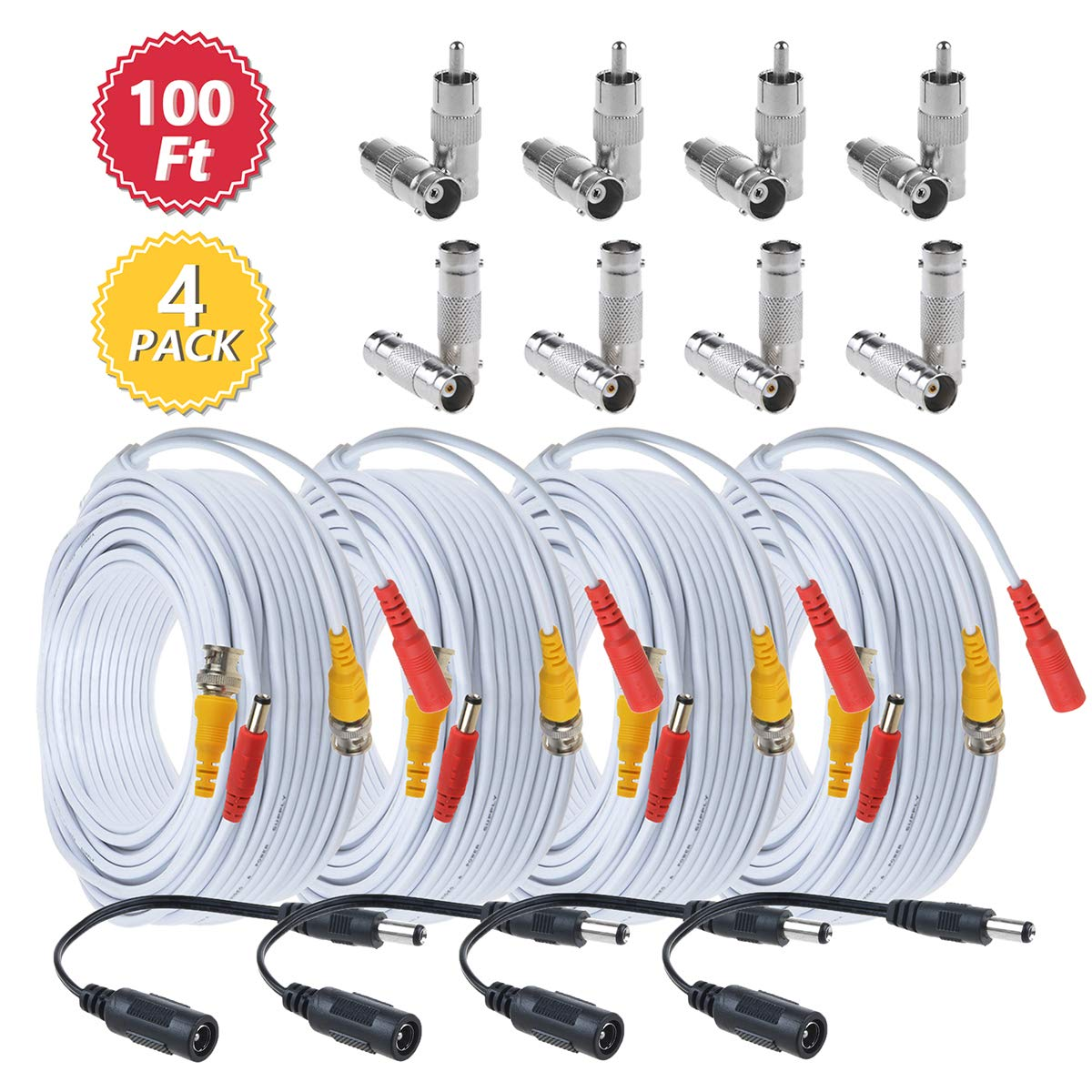BNC Cables 100ft 4 Pack HD Security Camera Cables Heavy Duty BNC Video Power Extension Cable with BNC to BNC, BNC to RCA Connectors, DC Power Cables for CCTV DVR Security Camera System-Flashmen by Flashmen