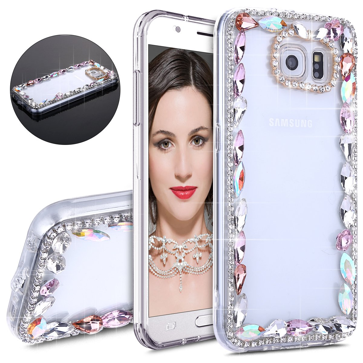 IKASEFU Galaxy S6,Luxury Sleek Glitter Sparkly Bling Flash Back Shockproof Cute Shiny PC Thin Bumper Colorful Rhinestones Crystals Diamond Protective Cover for Samsung Galaxy S6,Colorful