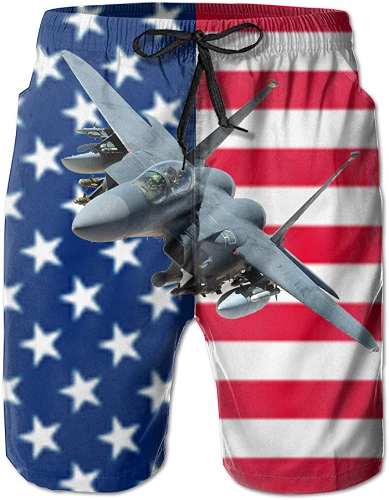 Y/&J Mens American Flag and F15 Fighter Cool Summer Beach Shorts Swimming Trunks Cargo Shorts for Men