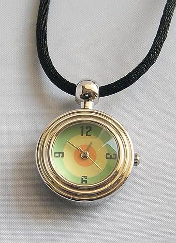 Damenuhr Umhängeuhr Uhr mit Band Halskettenuhr rund - grün/gelb/orange