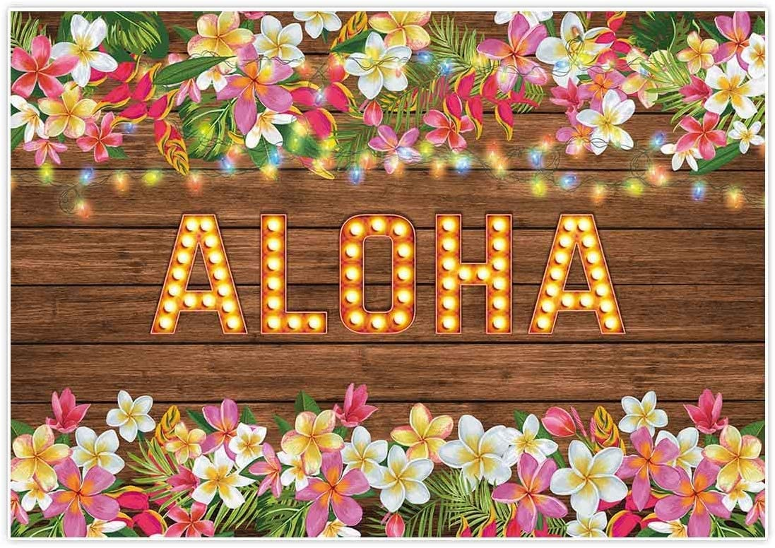 8x6ft Tropical Hawaiian Beach Luau Flower Wooden Birthday Party Wallpaper Studio Wedding Background Cloth familyPortrait Background Cloth
