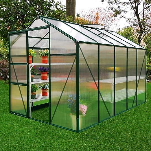 MonsterShop Invernadero de Jardín Policarbonato Transparente Aluminio Plantas Cultivos Hortalizas Vivero sin Base y 10 W Clips Gratis 1.8m x 3m: Amazon.es: Jardín