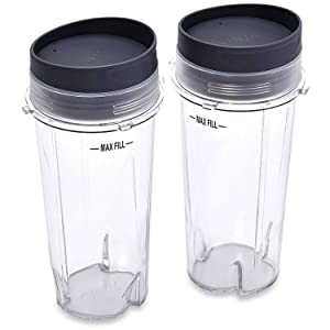 Nutri Ninja (16 oz Single Serve Cups with Lids for Ninja BL660, 2-Pack)