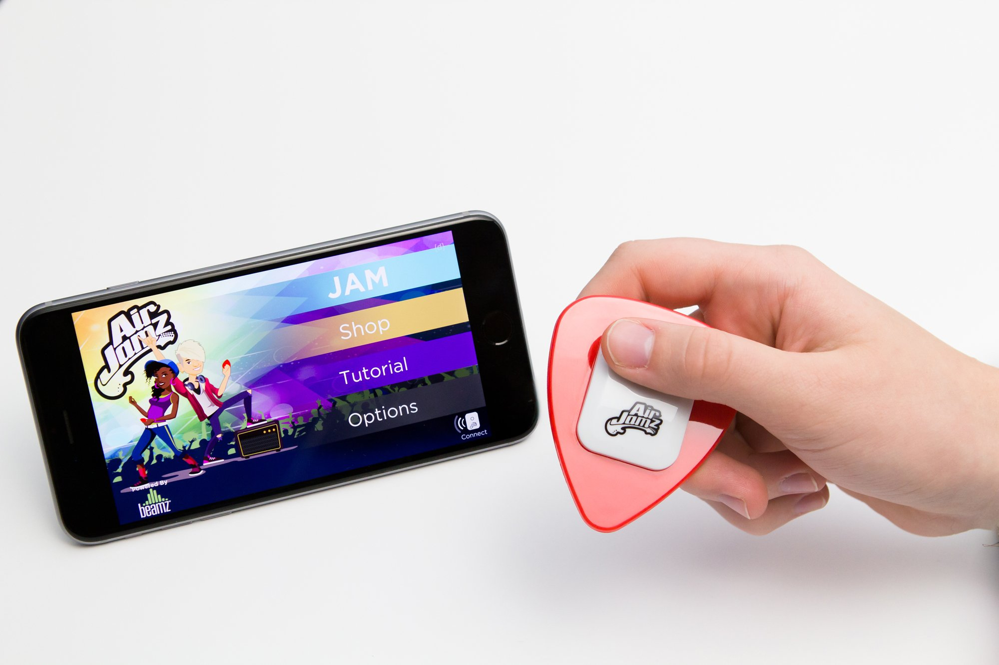 AirJamz App-Enabled Bluetooth Music Toy, Electric Air Guitar and more for your iOS Mobile Phone or Tablet, Red, Powered by Zivix by Zivix (Image #9)