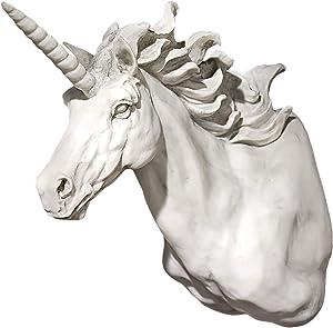 Design Toscano Alicorn Unicorn Horse Trophy Wall Sculpture, 13 Inch, Polyresin, Antique Stone
