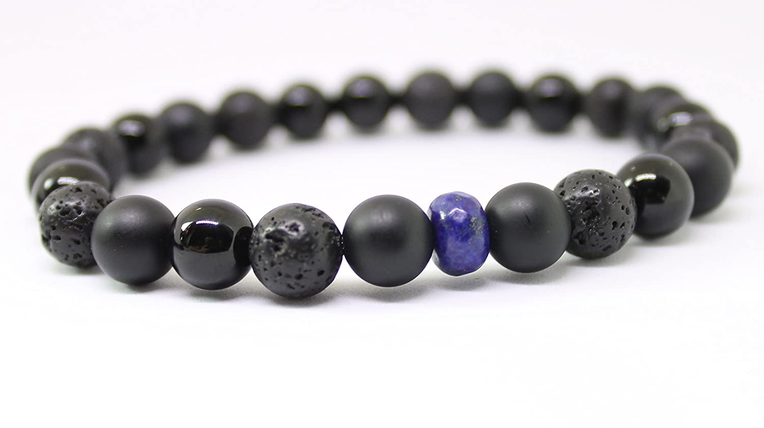LEO Lava Oil Diffuser bracelet, Thin Blue Line, Unisex Black Onyx and Lapis Gemstone Beaded Wellness Bracelet, Police Officer, Protective Energy, Unisex beaded bracelets