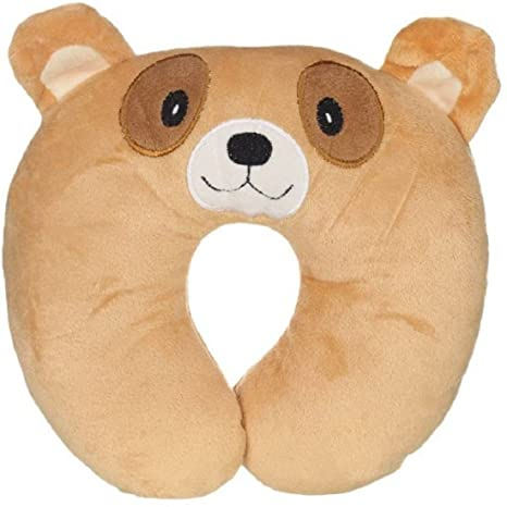 U Shape Pillow Short Plush Head Neck Support Fitted Pillow Chinmay Kids 0 12 Months  Brown