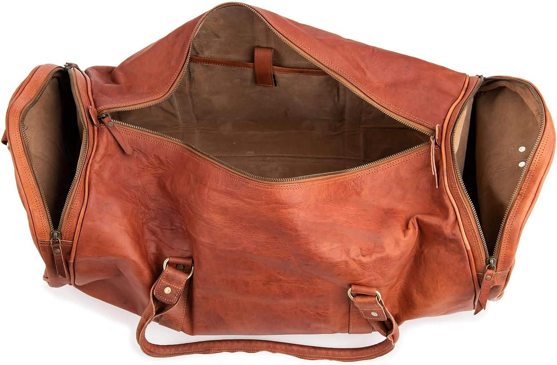 Berliner Bags Texas XXL Sac de sport de voyage en cuir en forme de Duffel Homme Femme Retro Marron
