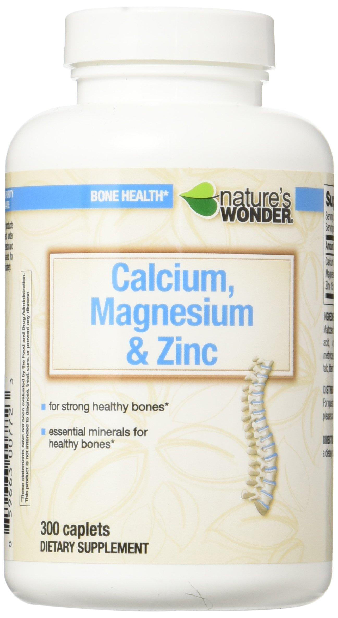 Nature's Wonder Calcium Magnesium and Zinc Supplement, 300 Count