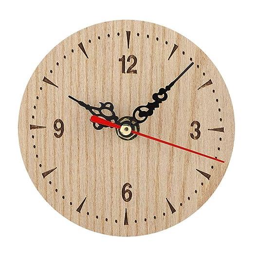 AUNMAS Mesa Redonda de Madera Reloj de Mesa Vintage Reloj ...