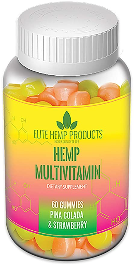 Elite Products International Hemp Infused Multivitamin - Relaxing, Pain  Relief, Stress & Anxiety Relief, Better Sleep - Strawberry & Pina Colada