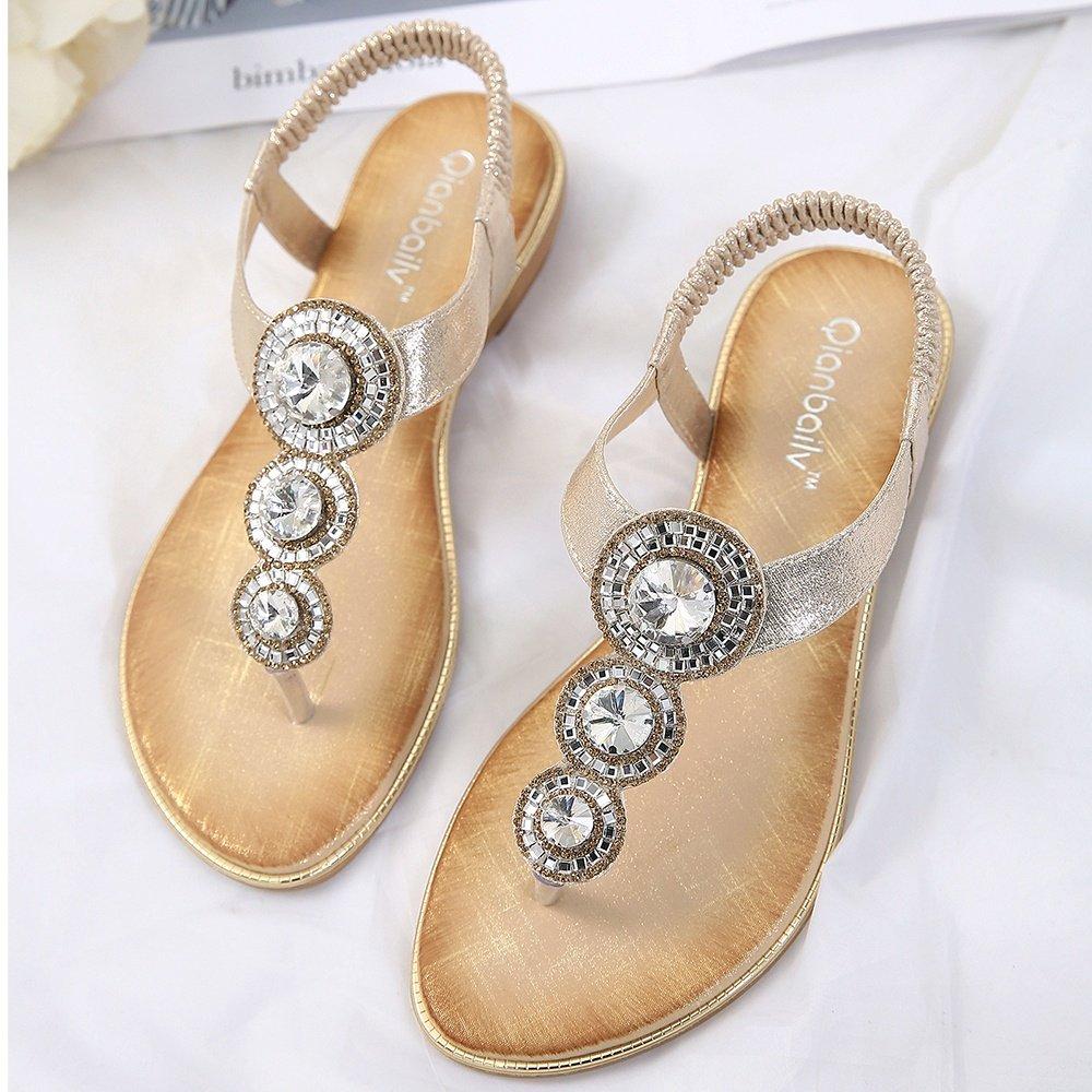 Meeshine Womens Flat Sandals Summer Rhinestone Comfort Bohemian Flip Flop Shoes Gold-02 US 8.5 by Meeshine (Image #7)