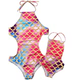 Family Matching Mother and Daughter Colored Mermaid Halter Backless Swimsuit Bathing Suit
