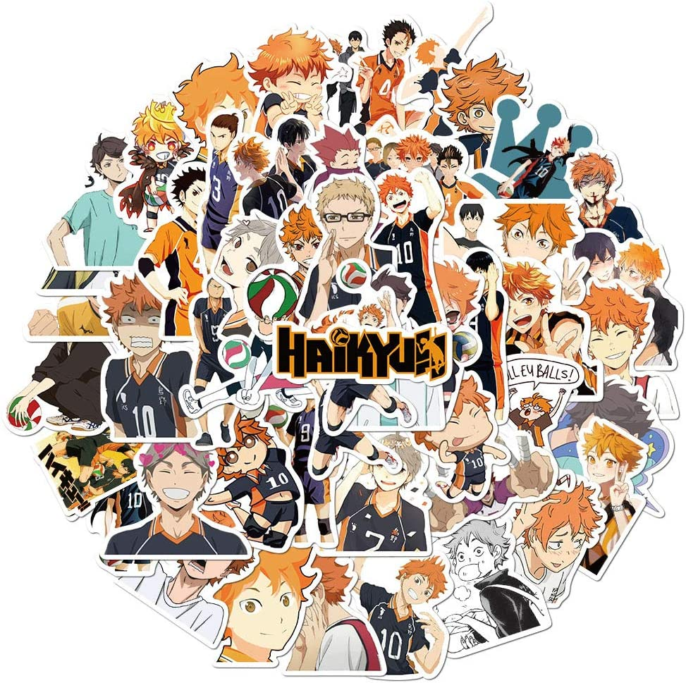 Haikyuu Anime Stickers for Laptop - Vinyl Waterproof Decals for Water Bottle Wall Skateboard Phone Case Bicycle Car Helmet Bumper Luggage Scrapbook, Comics Theme for Kids Teens Adult 52 Pcs