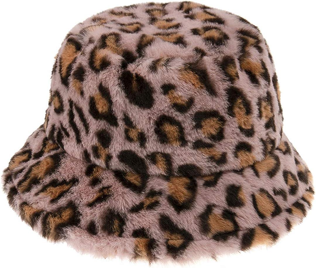 DFLYHLH Leopard Fishing Caps Panama Warm Soft Faux Fur Winter Bucket Hat for Women Ladies