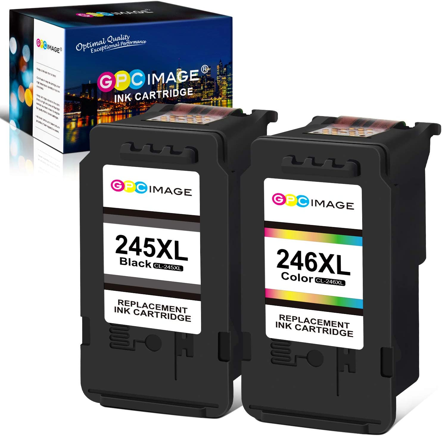 GPC Image Manufactured Ink Cartridge Replacement for Canon PG-245XL CL-246XL PG-243 CL-244 Ink Cartridge 245 and 246 to use with Pixma MX492 MX490 MG2420 MG2522 MG2920 TS3320 (1 Black,1 Tri-Color)