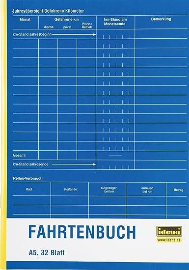 32 Blatt Idena Fahrtenbuch doppelseitig bedruckt DIN A5