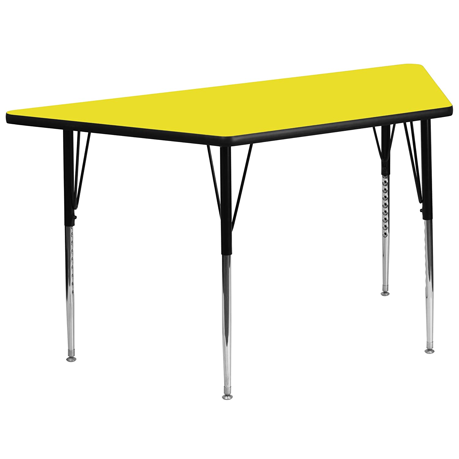 Flash Furniture 30W x 60L Trapezoid Grey HP Laminate Activity Table Standard Height Adjustable Legs