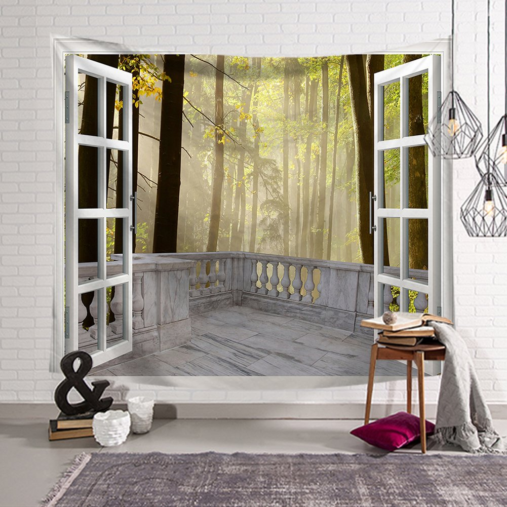 QCWN House Decor Tapestry Wall Hanging Nature Scenery Modern Landscape Fake Window Design 3D Print Wall Decor For for Bedroom Living Room Dorm (1, 59Wx51L)