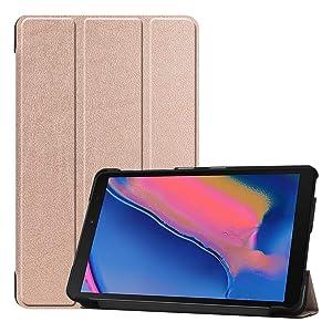 Custodia per tablet Samsung Galaxy Tab A 8 (2019) Tri-fold con protezione antigraffio, senza funzione Sleep (oro rosa)