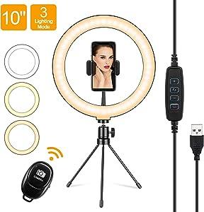 "10"" Selfie Ring Light with Tripod Stand & Cell Phone Holder, 3 Light Modes & 10 Brightness Level, LED Desktop Ring Light for Selfie, Makeup, Live Streaming, YouTube Video, TIK Tok"