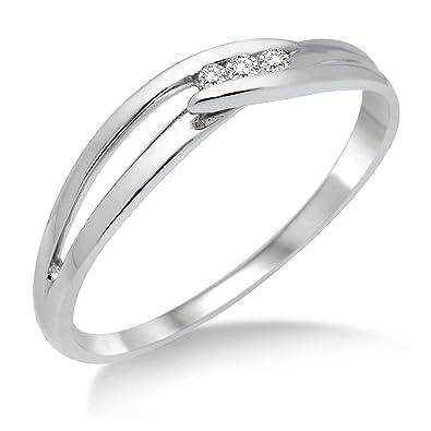 Weißgold ring damen  Miore Damen-Ring 375 Weißgold mit Brillant MA940R: Amazon.de: Schmuck