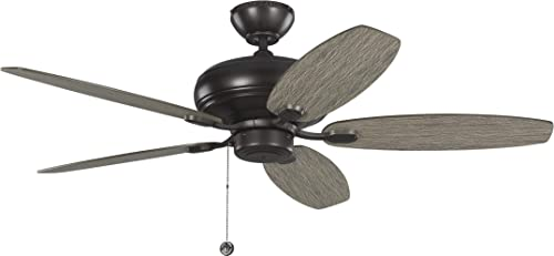 Monte Carlo 5CQM52AGP Centro Max TSCA Title VI Compliant Flush Downrod Mount 52 Ceiling Fan with Pull Chain, 5 Light Grey Weathered Oak Blades, Aged Pewter