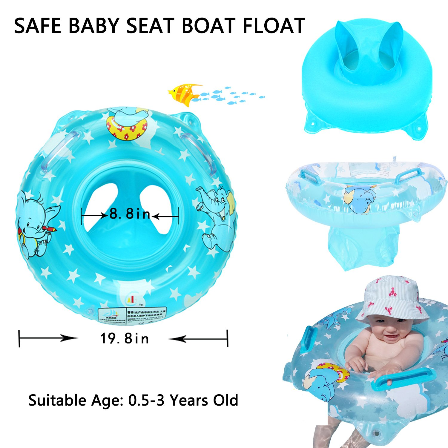 Amazon.com: Inflatable Baby Pool Float Bath Seat Swimming Ring For ...