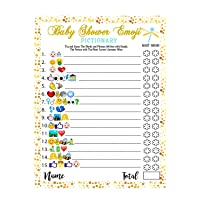 Baby Shower Games - 40 Cards Emoji Pictionary, Fun Guessing Game Girls Boys Babies Gender Neutral Ideas Shower Party, Prizes for Game Winners, Favorite Adults Games for Baby Shower Favors Activities