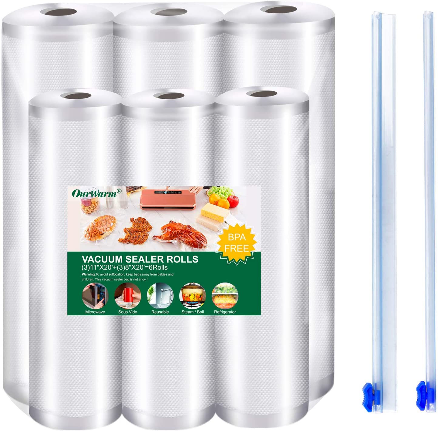 OurWarm 6 Pack Food Saver Vacuum Sealer Bags Rolls, Seal a Meal, BPA Free, Heavy Duty Food Storage Bags Kitchen Accessories, for Sous Vide and Vac Seal Bags Storage 8