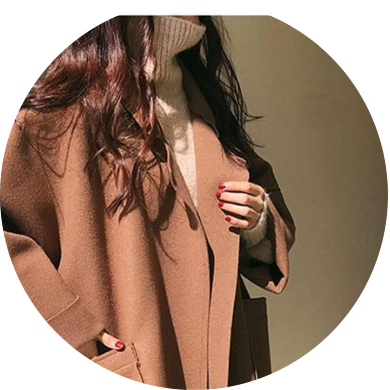 Brown Women Autumn 2018 Clothes Oversize Woolen Cloak Jacket Coat