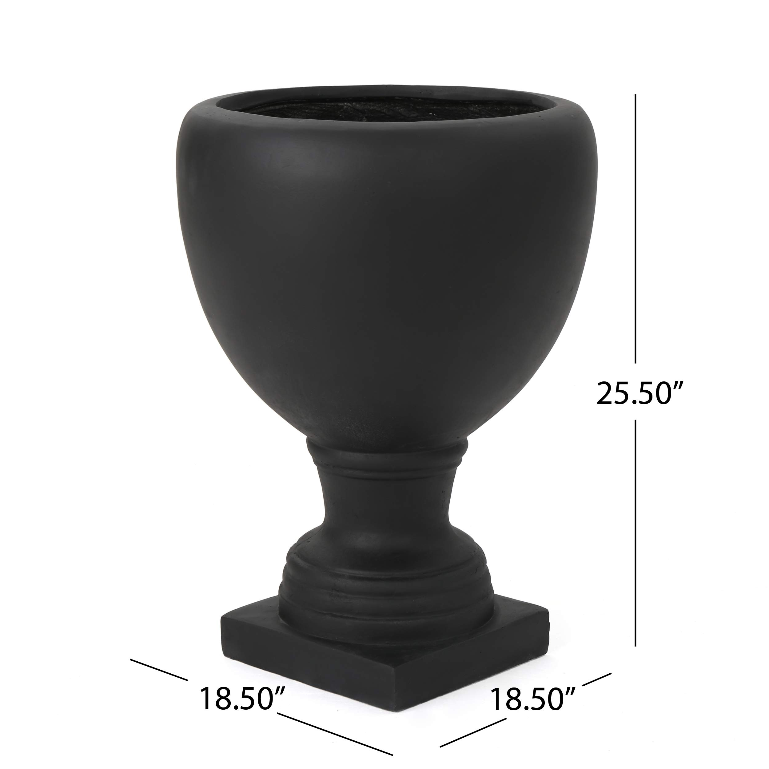 Great Deal Furniture Shiny Outdoor Matte Black Finished Cast Stone Urn by Great Deal Furniture (Image #8)