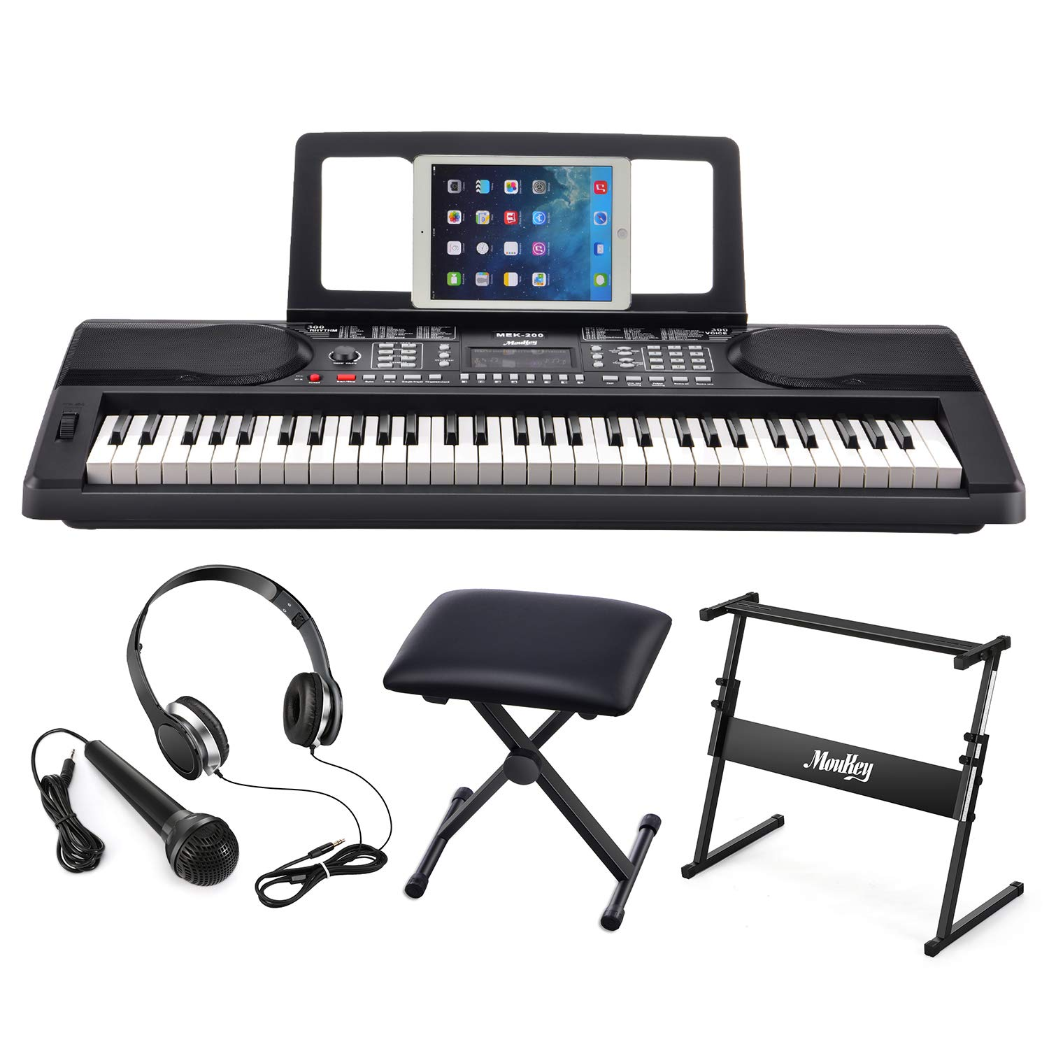 Moukey MEK-200 Electric Keyboard Portable Piano Keyboard Music Kit with Stand, Bench, Headphone, Microphone & Sticker, 61 Key Keyboard, Black by Moukey