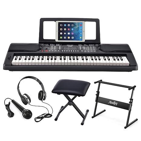 Moukey MEK-200 Electric Keyboard Portable Piano Keyboard Music Kit with  Stand, Bench, Headphone, Microphone & Sticker, 61 Key Keyboard, Black