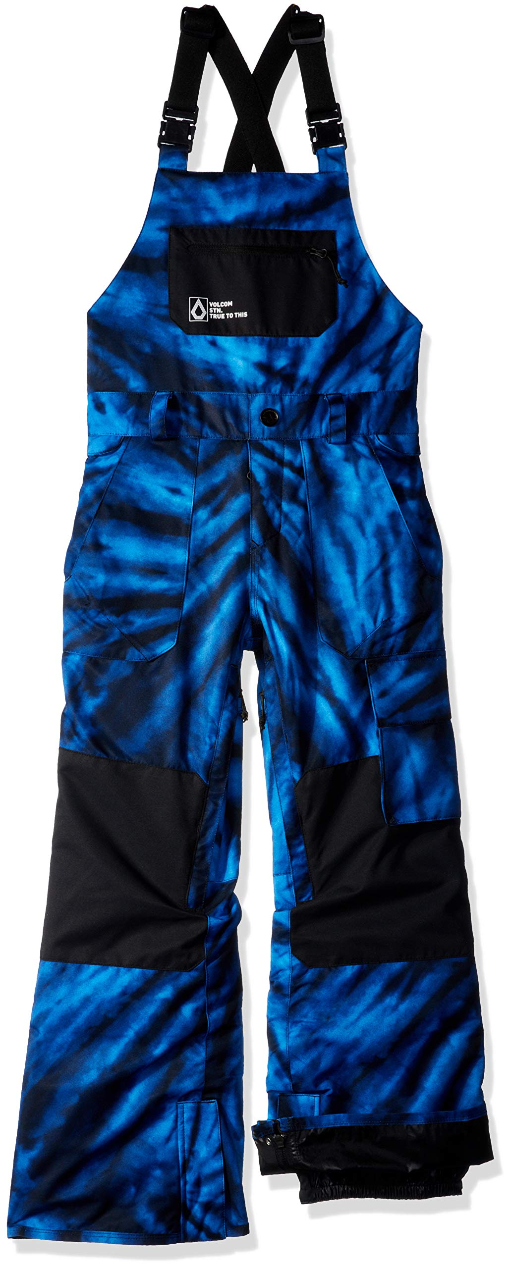Volcom Boys' Big Barkley 2 Layer Shell Bib Snow Overall, Blue tie/dye, Extra Large