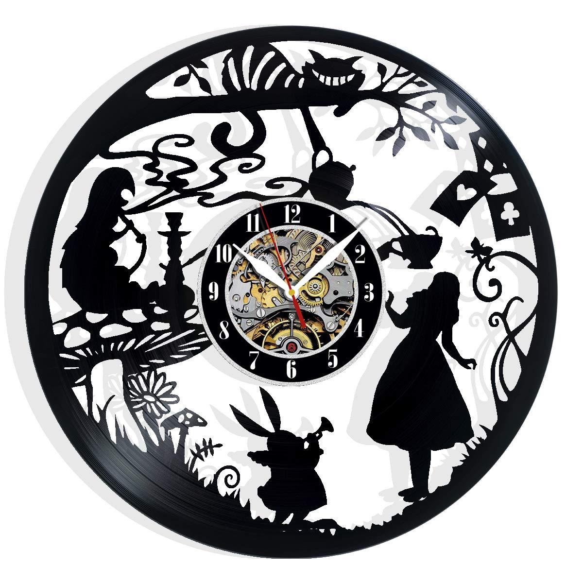 Alice in Wonderland Vinyl Record Wall Clock Art Home Decor Interior Design Best Gift for Fans Room Wall Art