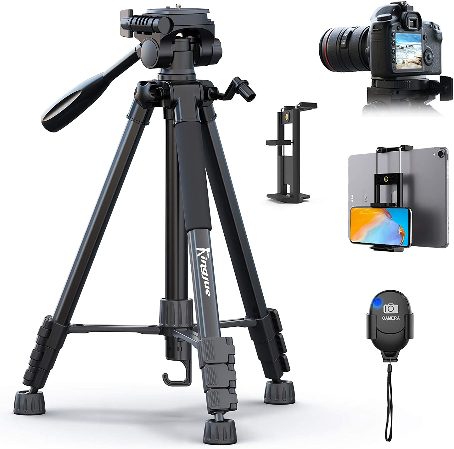 KINGJUE Camera Tripod for Canon Nikon 60 inch Lightweight Aluminum Travel DSLR Camera Stand with Universal Phone Tablet Holder Remote Shutter and Carry Bag