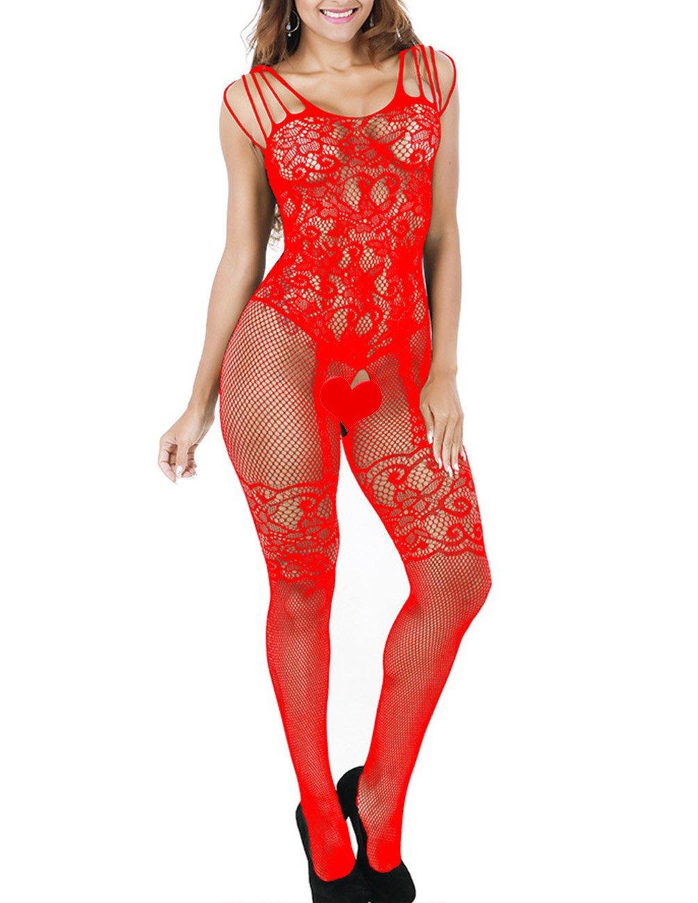 Buauty Womens Floral Lace Bodysuit Lingerie Fishnet Open Crotch Bodystocking Sexy Lingerie