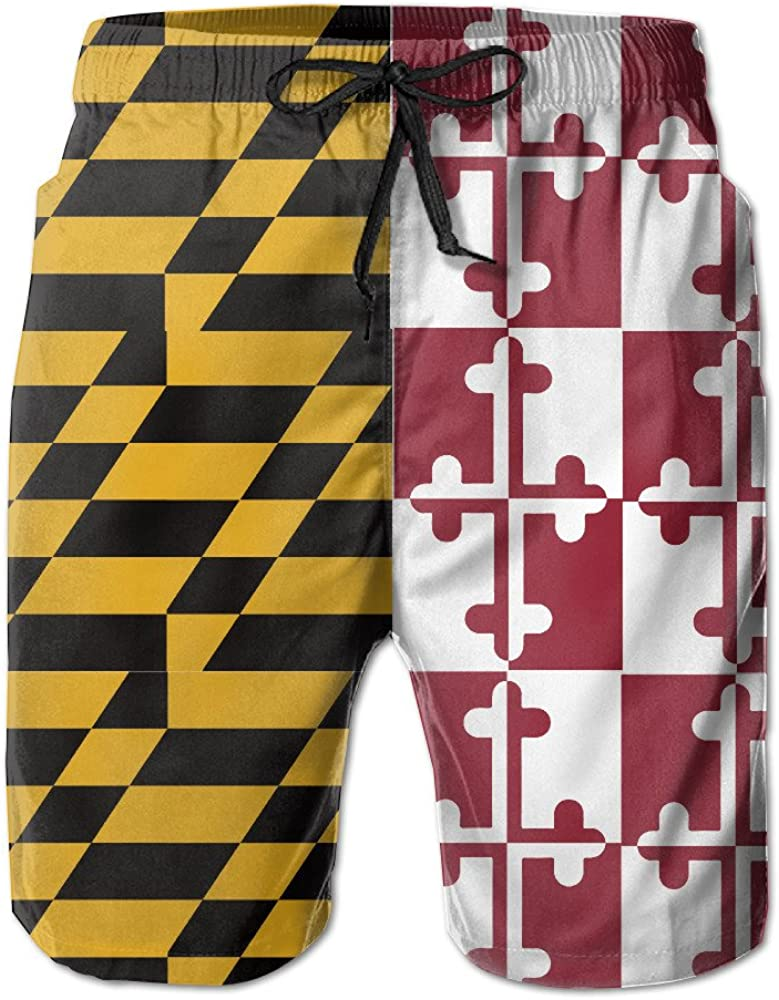 LOVEHOME Mens Maryland State Flag Summer Breathable Swim Trunks Beach Shorts Board Shorts