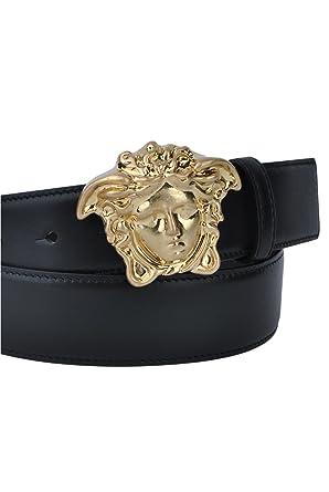 f9fd38bd907 Amazon.com  Versace Black Belt with Gold Medusa Head Buckle-38inch ...