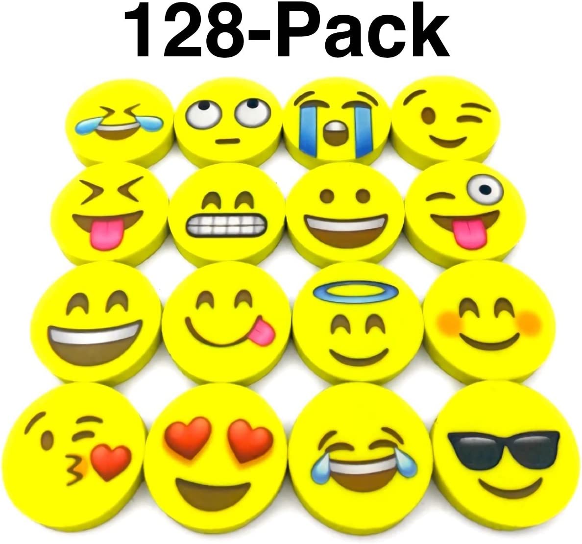 128-pack of yellow erasers with emoji faces on them.