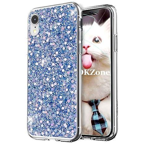 coque iphone xr bleu brillant