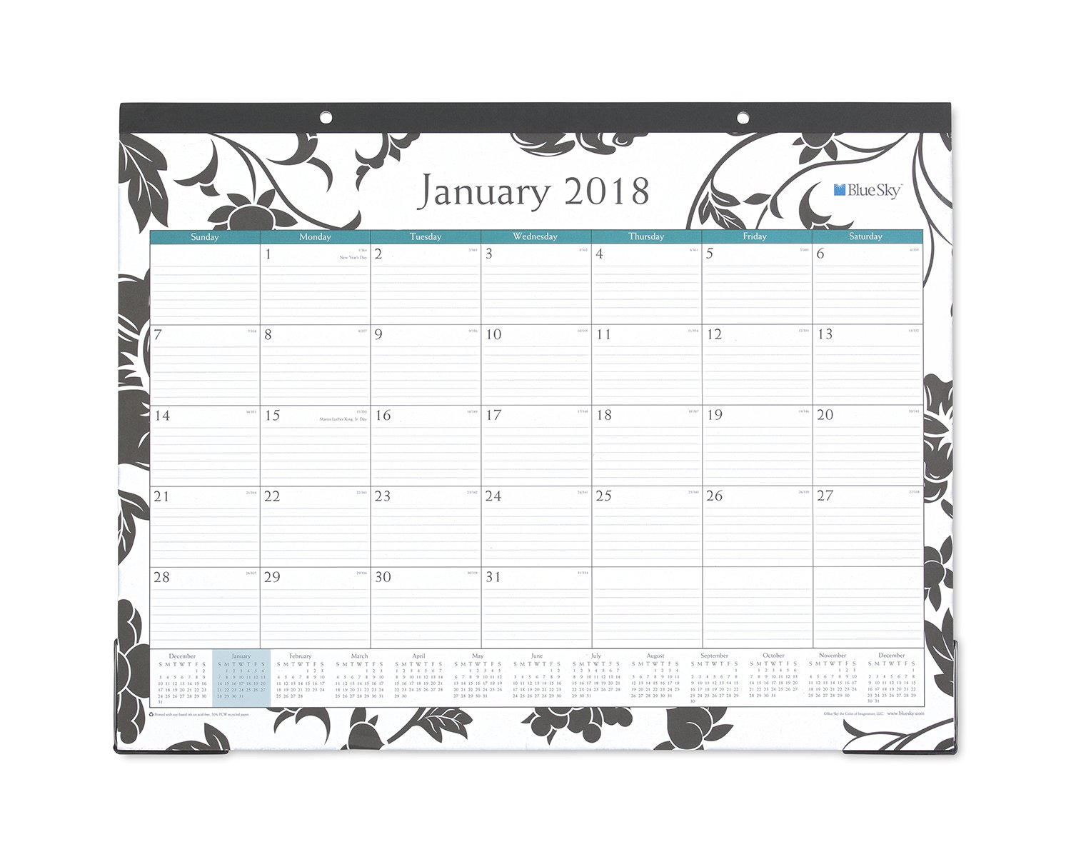 Blue Sky 2018 Monthly Desk Pad Calendar, 22'' x 17'', Barcelona