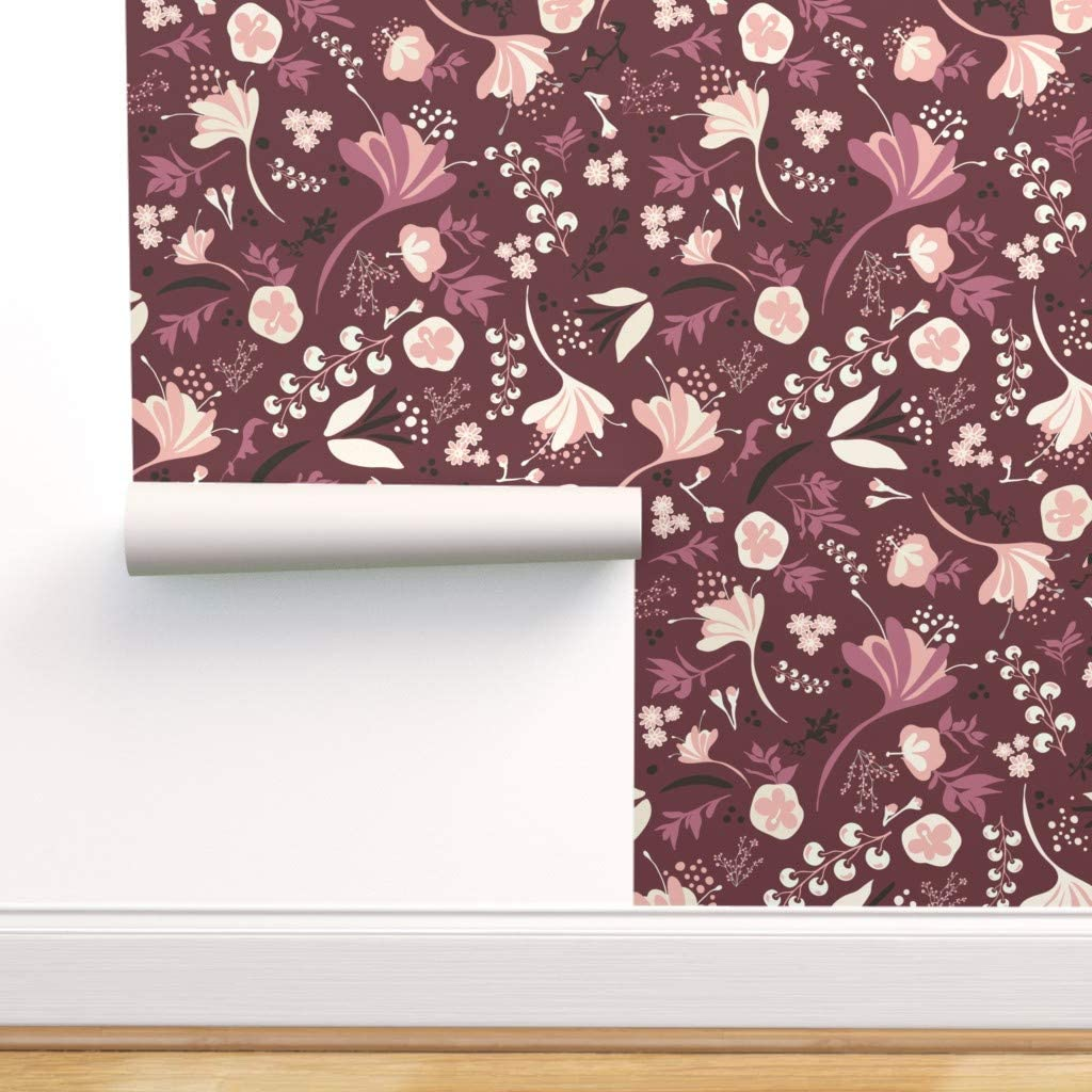 Spoonflower Peel And Stick Removable Wallpaper Floral Burgundy