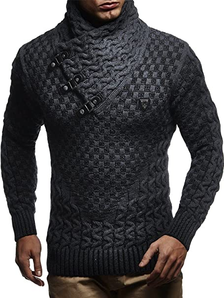 Leif Nelson Men's Knitted Pullover, Long sleeved slim fit shirt, Sweatshirt with shawl collar