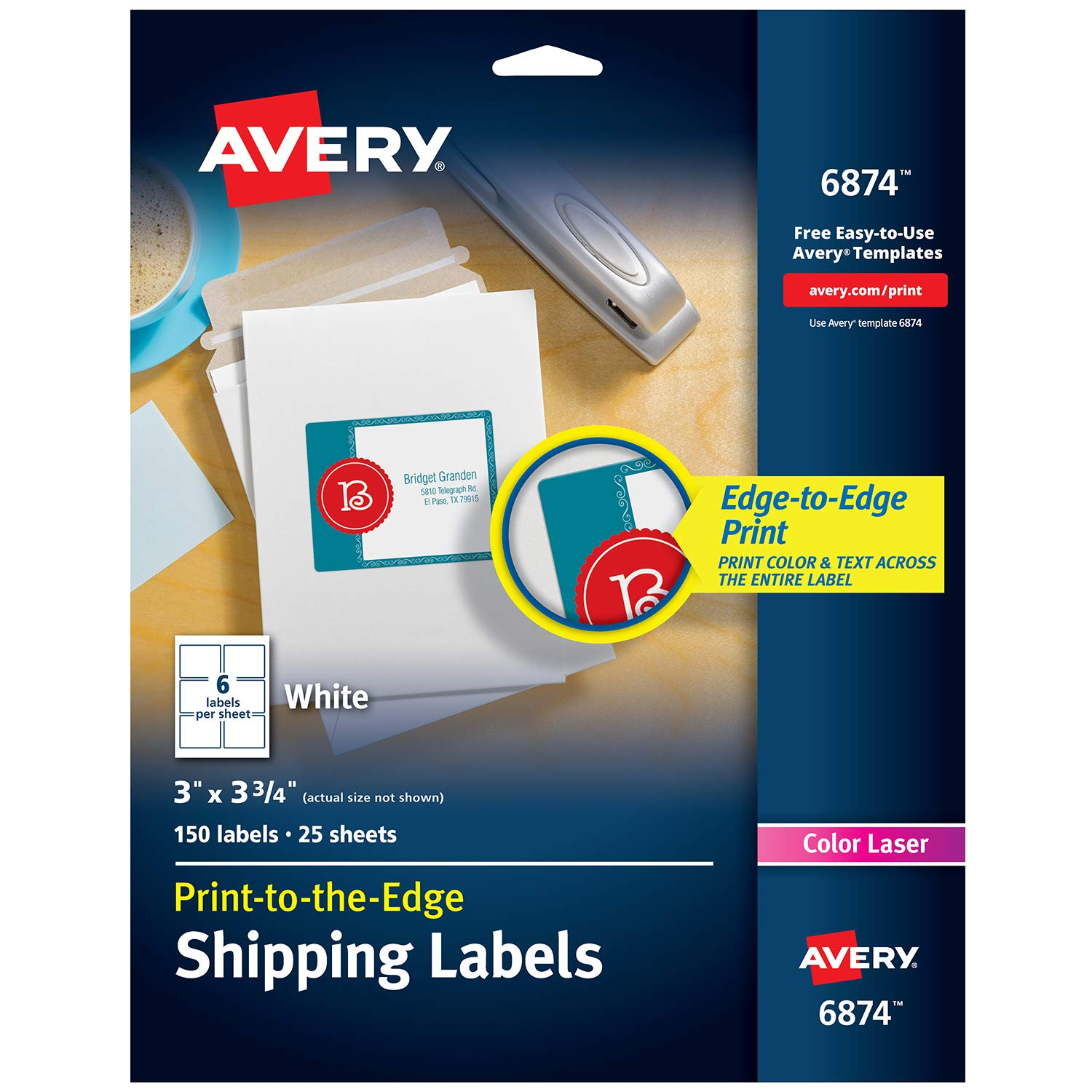 Avery White Laser Labels for Color Printing, 3 x 3-3/4 Label, 150 per Pack  (6874)